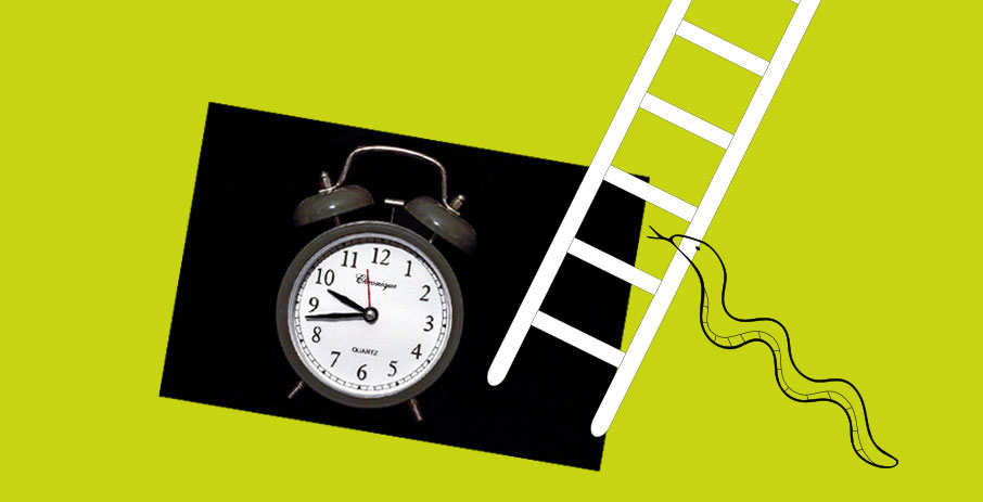 Alarm-clock-snake-and-ladder-on-lime-green-background