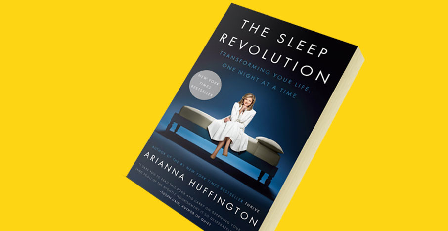 Arianna-Huffington-The-Sleep-Revolution-book-cover-on-yellow-background