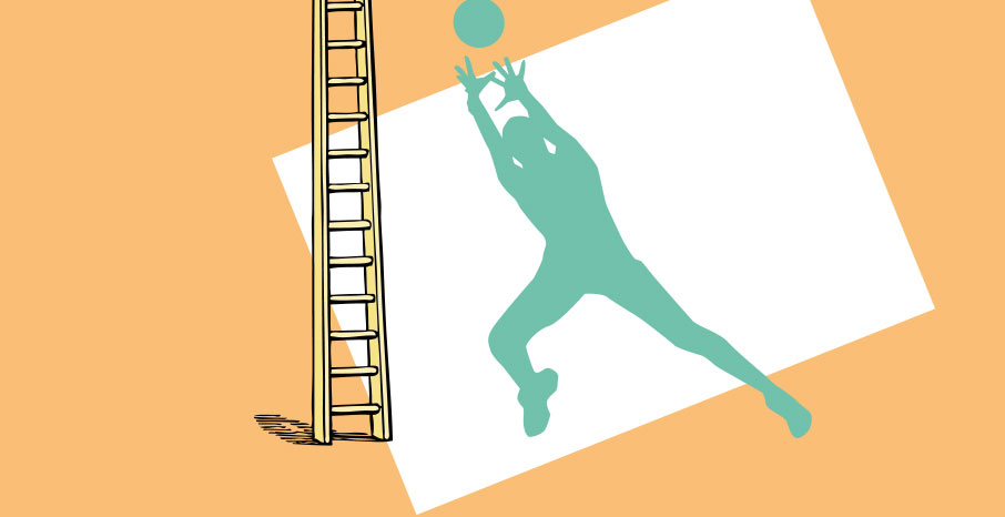 Basketball-player-illustration-ladder-climb-to-top-conceptual-tangerine-color-background