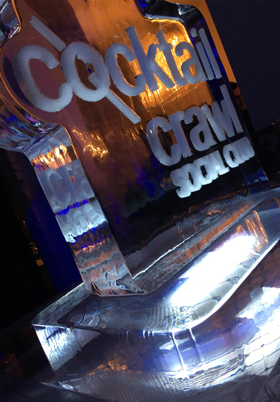 Cocktail-Crawl-Social-Club-logo-set-in-ice-sculpture