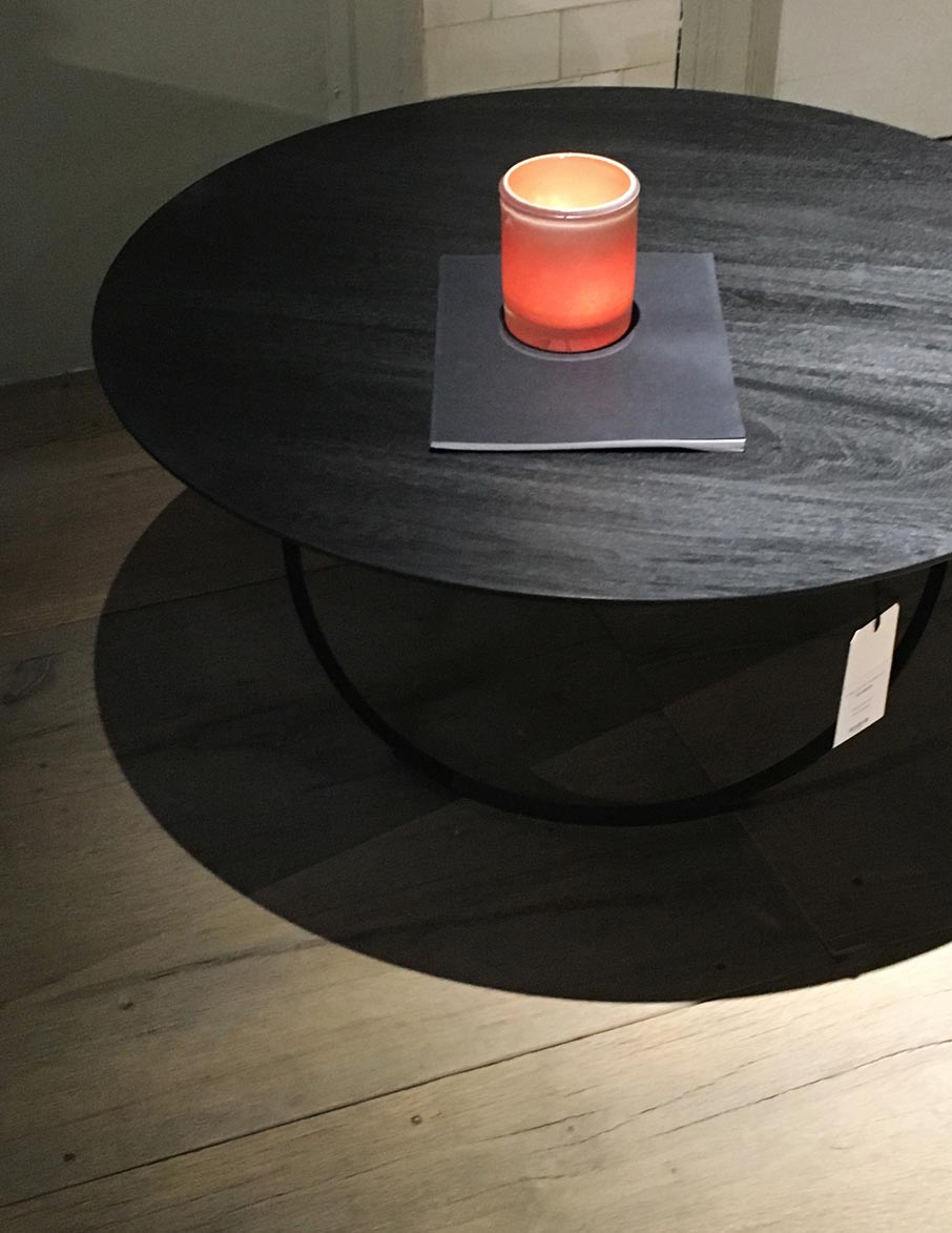 Designer-coffee-table-with-tea-light-at-High-Point-Market