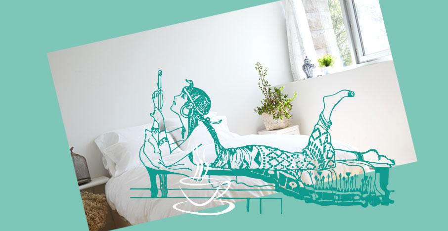 Egyptian-woman-illustration-on-bed-white-duvet-cover-on-aqua-background