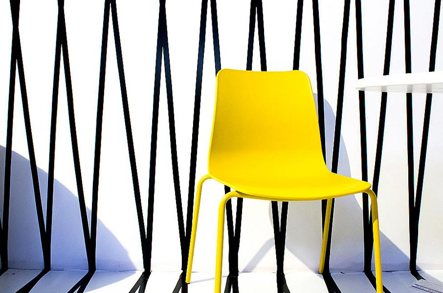 Interior-Design-Show-2016-yellow-chair-on-black-and-white-background