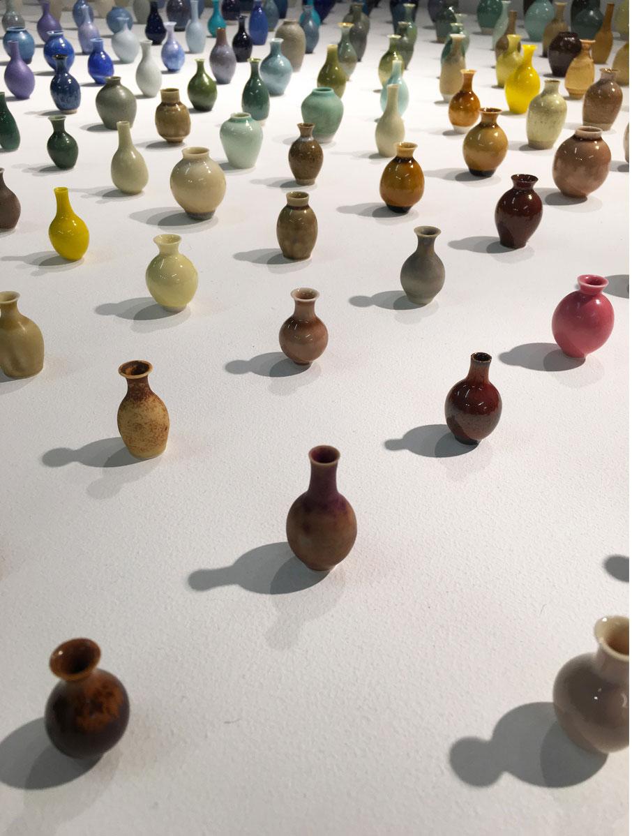 London-Design-Festival-display-of-mini-vases-by-japanese-artist