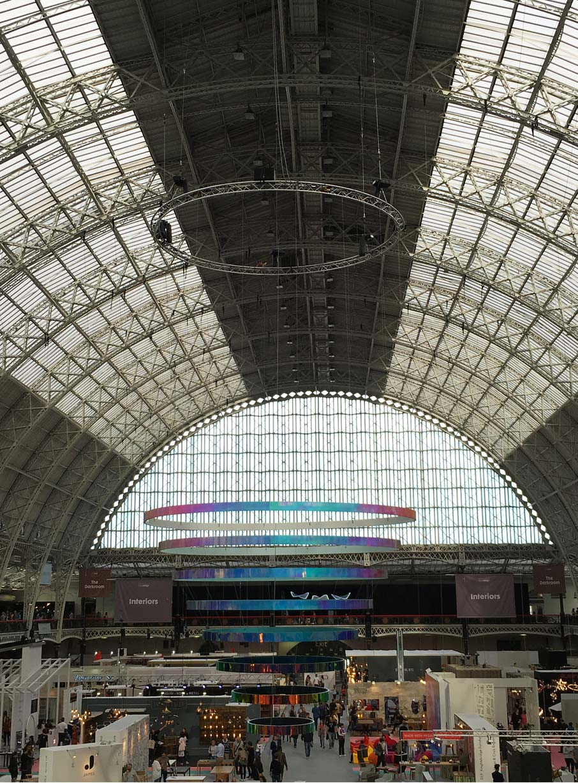 London-Design-Festival-interior-birds-eye-view-of-exhibits-inside-Olympia-exhibition-centre