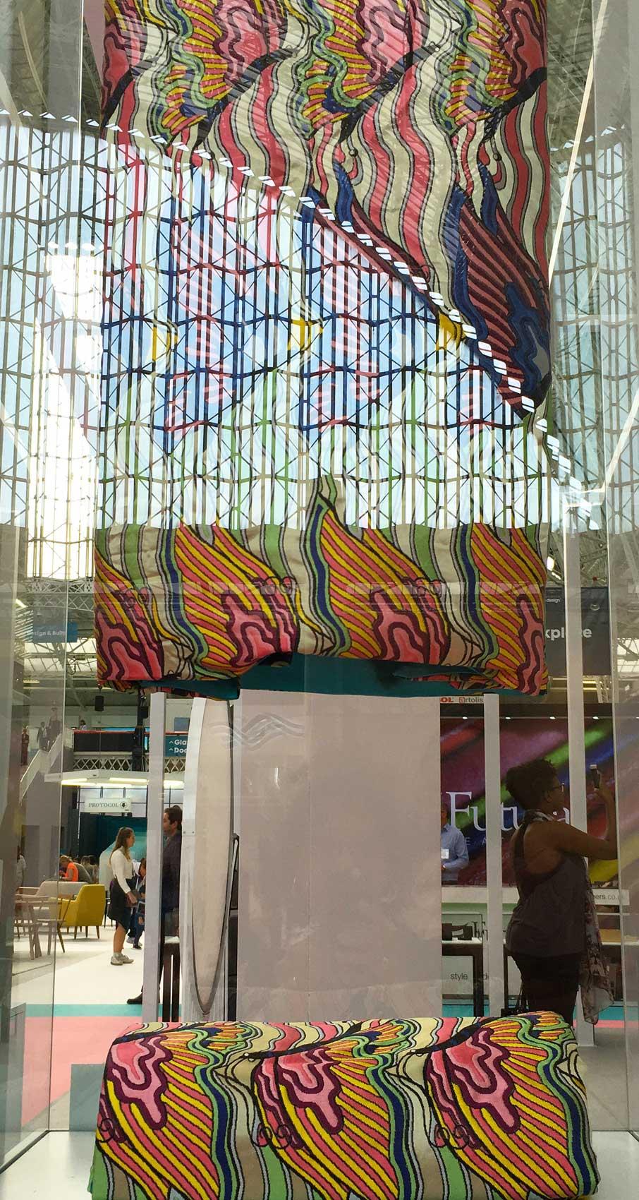 London-Design-Festival-multi-tier-display-of-colourful-textile