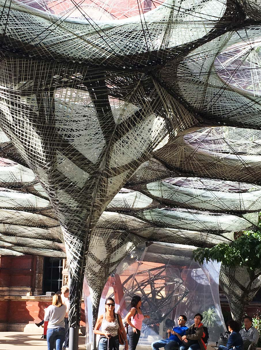 London-Design-Festival-sculptural-architectural-outdoor-form-covered-with-intricate-webbing