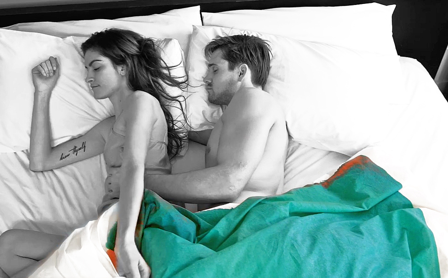 Models just waking up in bed with ZayZay Moroccan Monday duvet cover