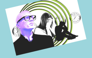 Stressed-woman-covering-face-silhouette-clocks-man-wearing-glasses-conceptual-blue-background