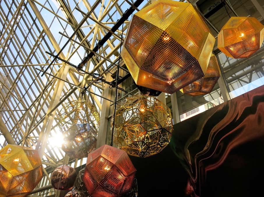 Tom-Dixon-metallic-lighting-exhibit-in-entrance-of-Interior-Design-Show