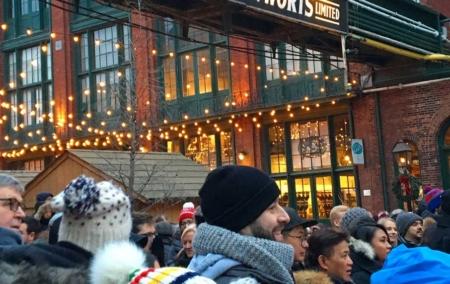 Toronto-Christmas-Market-crowd-under-Gooderham-and-Worts-sign