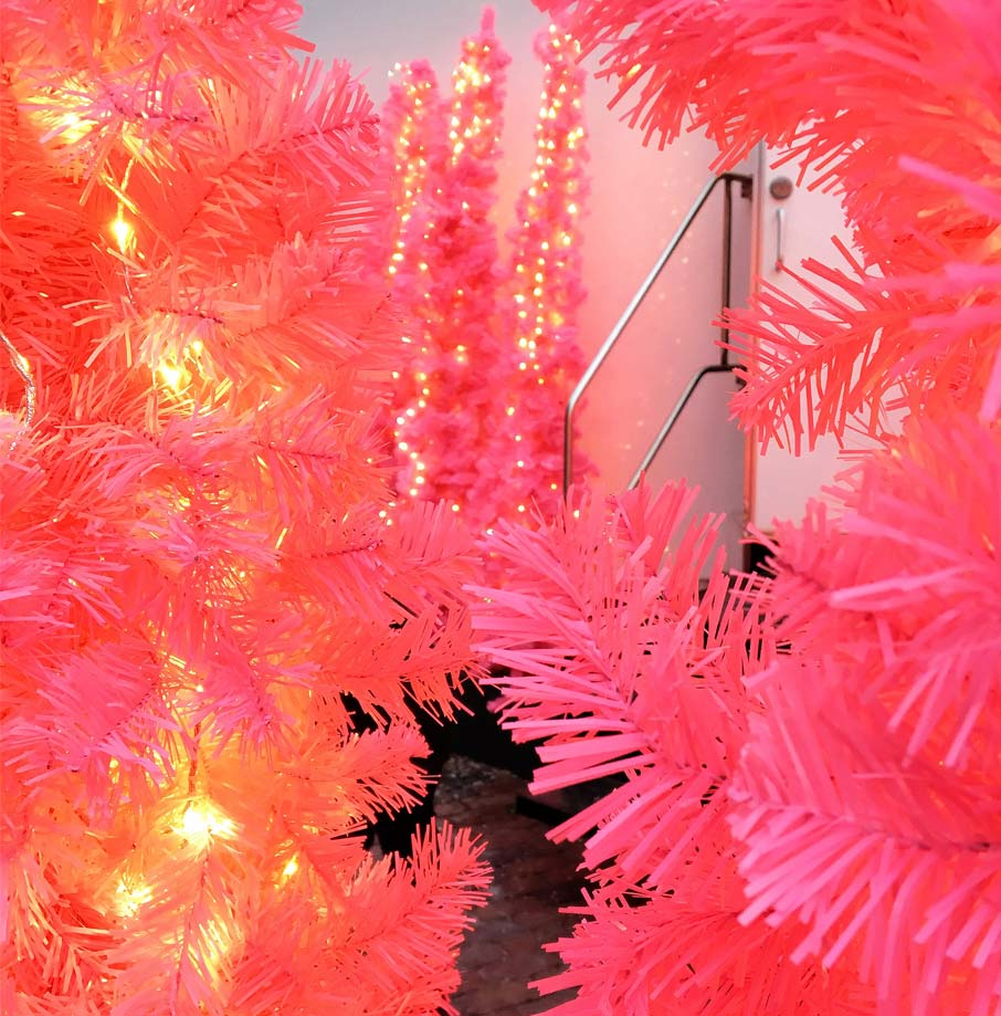 Toronto-Christmas-Market-pink-trees-lit-in-front-of-doorway