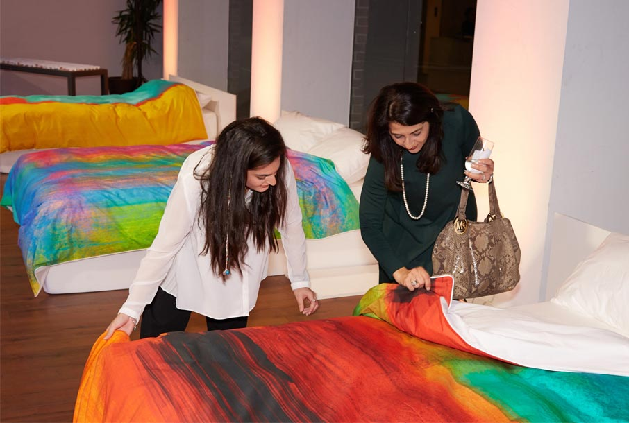 ZZ-B-Launch-party-guests-feeling-quality-of-ZayZay-duvet-covers
