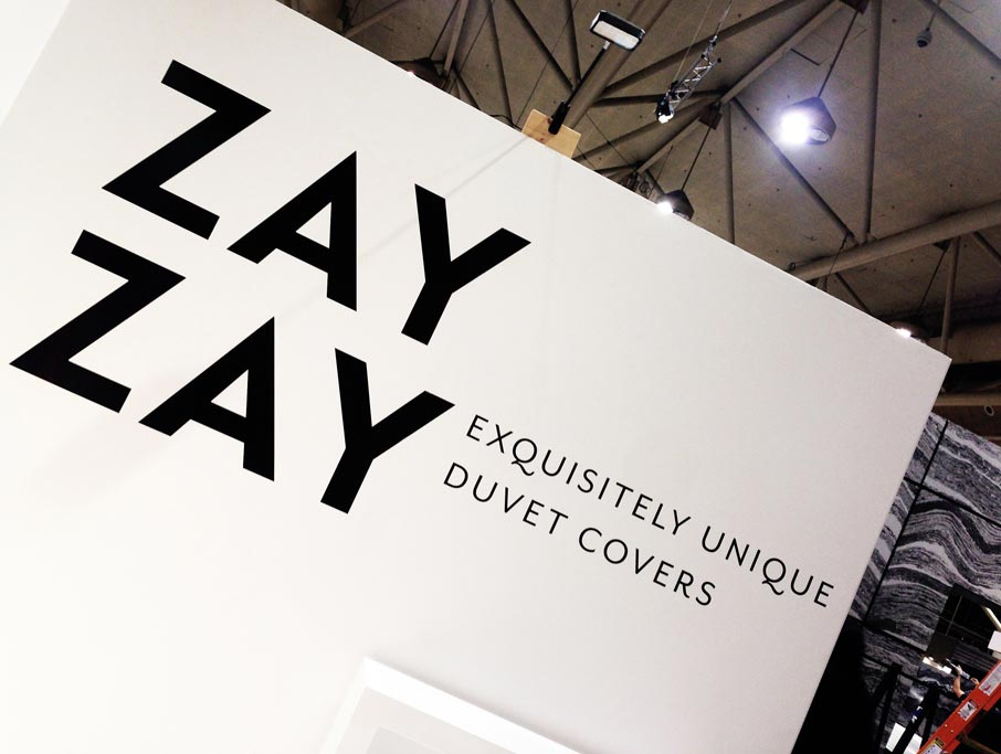 ZayZay-Exquisitely-Unique-Duvet-Covers-on-angled-wall-at-IDS-2016