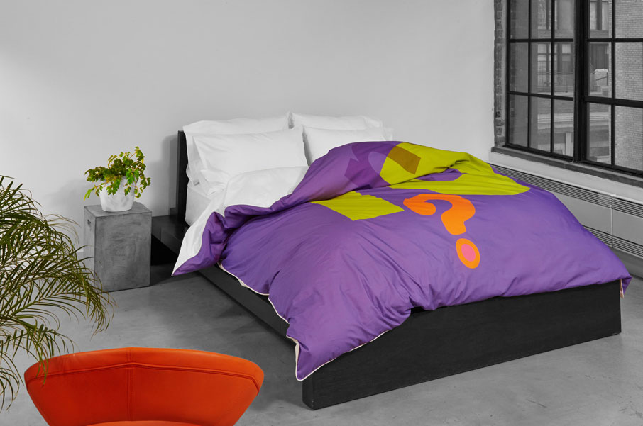 ZayZay-Want-2-Love-2-duvet-cover-purple-in-grayscale-room