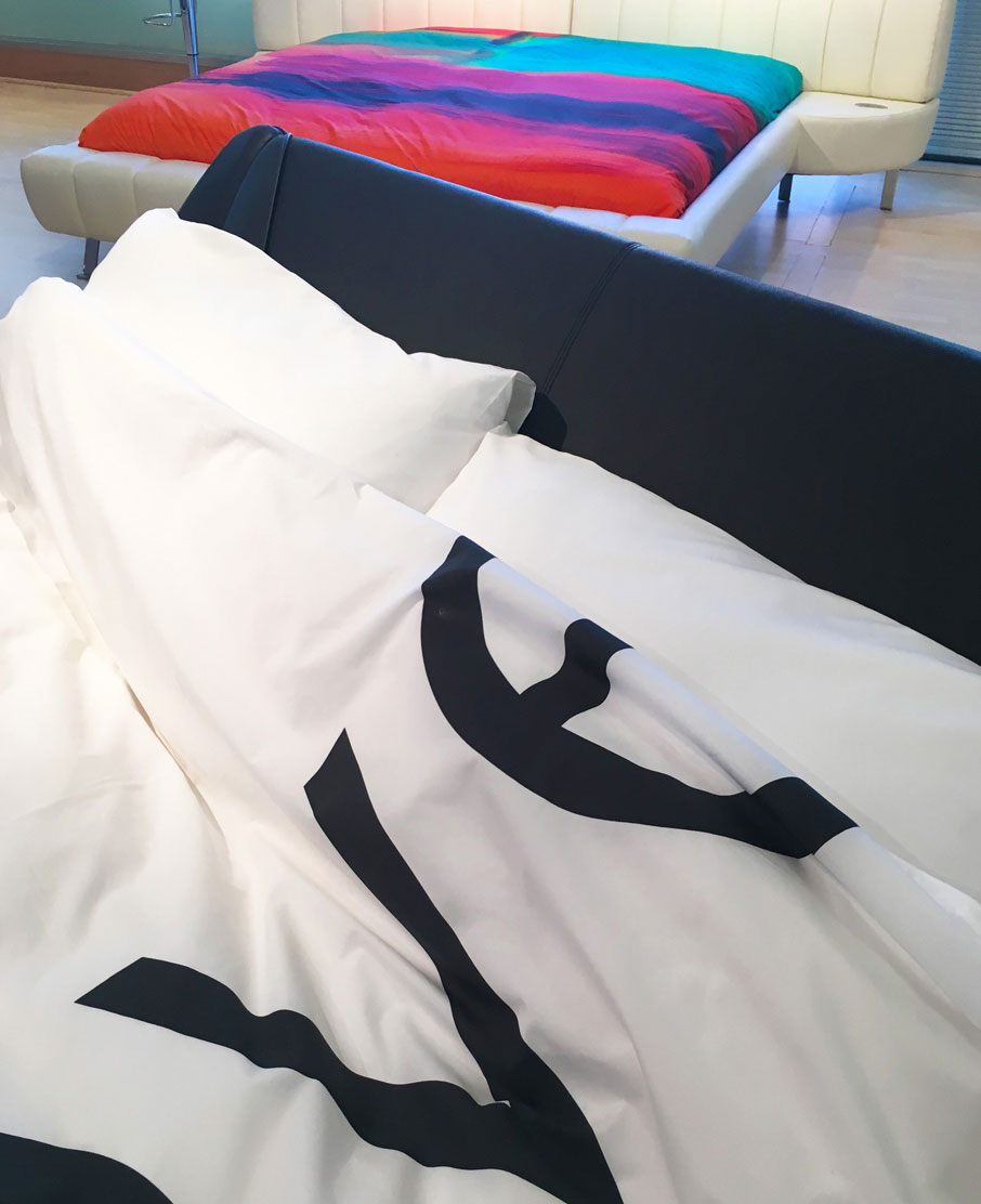 ZayZay-duvet-cover-design-Love-Song-on-IQ-black-leather-bed-frame