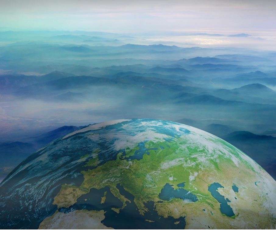Conceptual-view-of-earth-from-space-with-mountains-in-clouds-background
