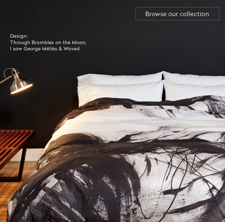 ZayZay-duvet-cover-Brambles-white-and-black-painted-design-in-black-bedroom