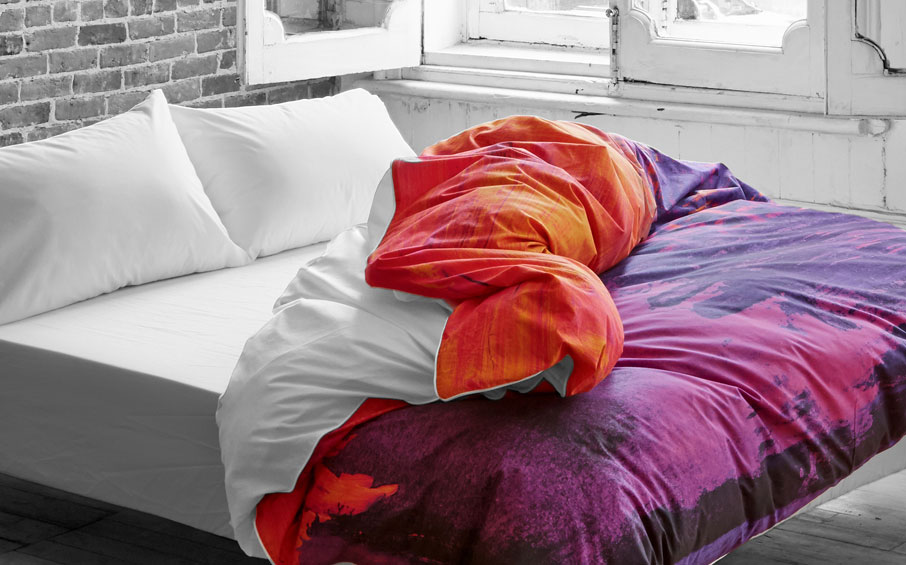 ZayZay duvet cover Saffron Shangrilahh design purple on bed gray brick wooden windows room