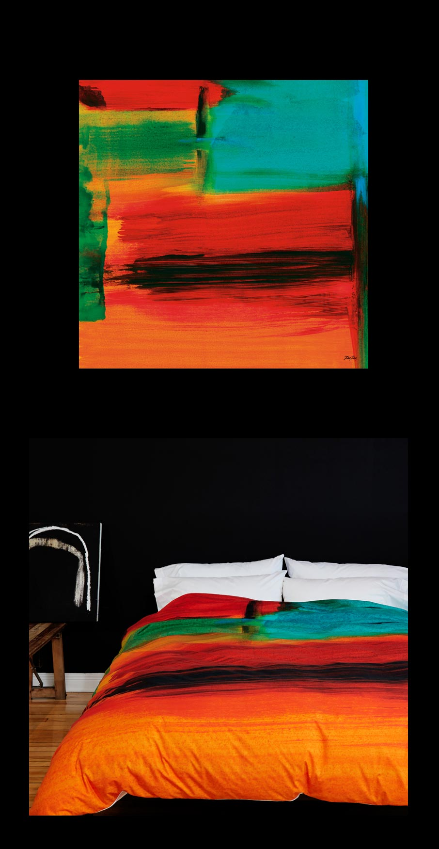 ZayZay painting African Sunset on wall with duvet cover design on bed