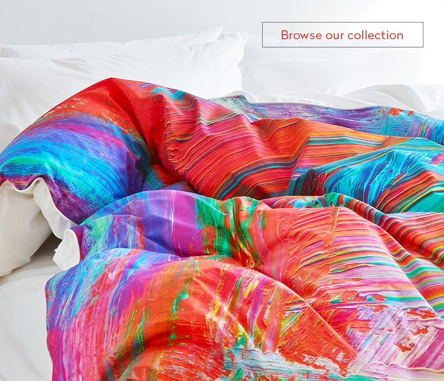 ZayZay painting Madagascar duvet cover bright colours on bed