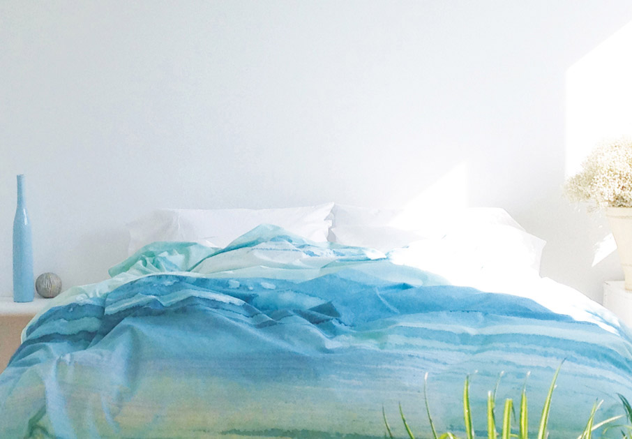 ZayZay painting Paradisus duvet cover turquoise on bed