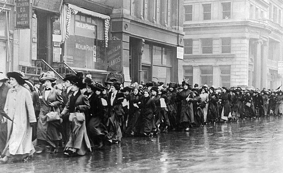 Suffragettes parading, April 5, 1917