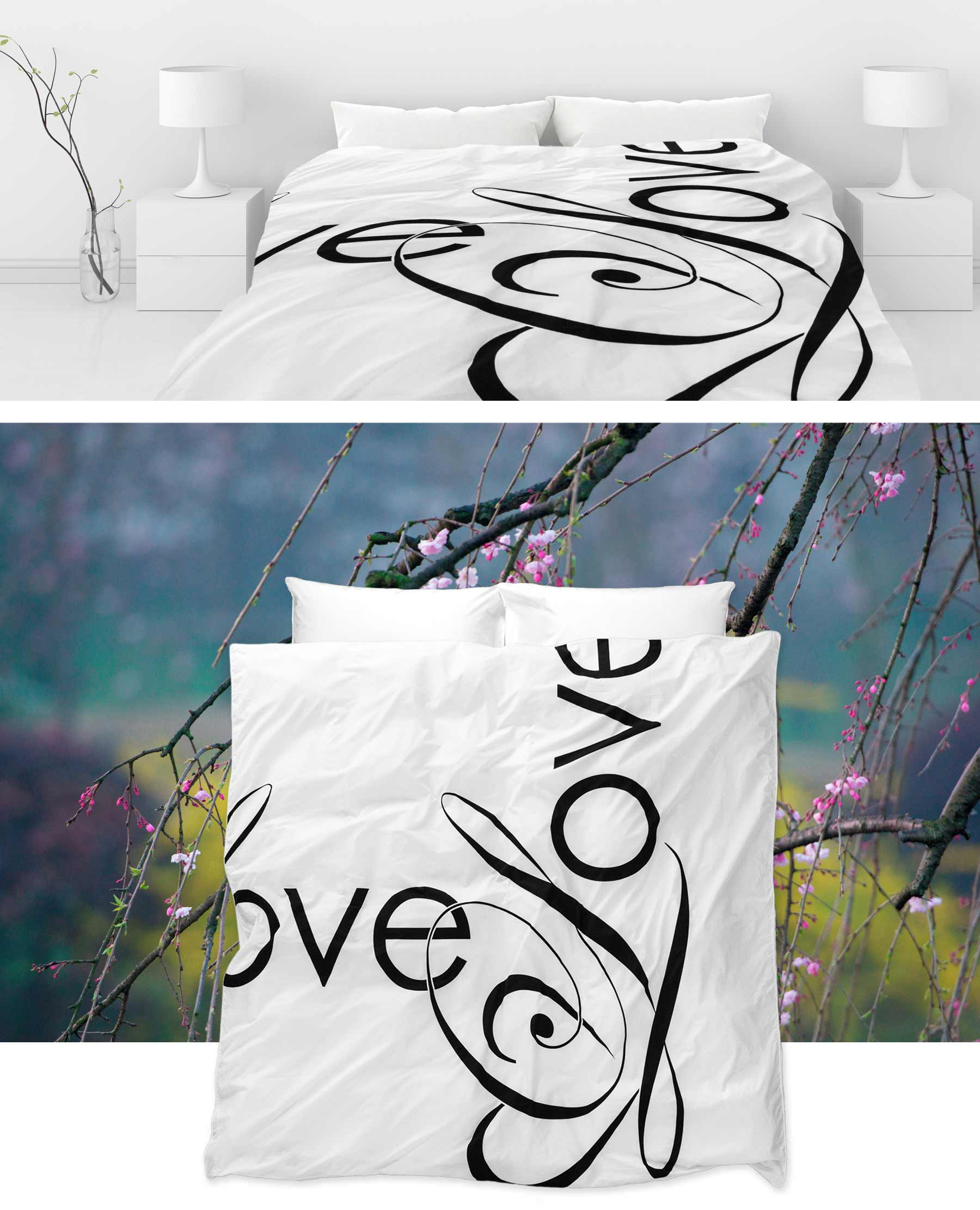 ZayZay-Love-Song-duvet-cover-on-bed-in-white-room-and-shown-on-top-of-tree-branch-nature-backdrop