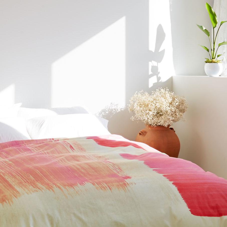 ZayZay Living art movement So Jess duvet cover pink brushstrokes in sunny bedroom