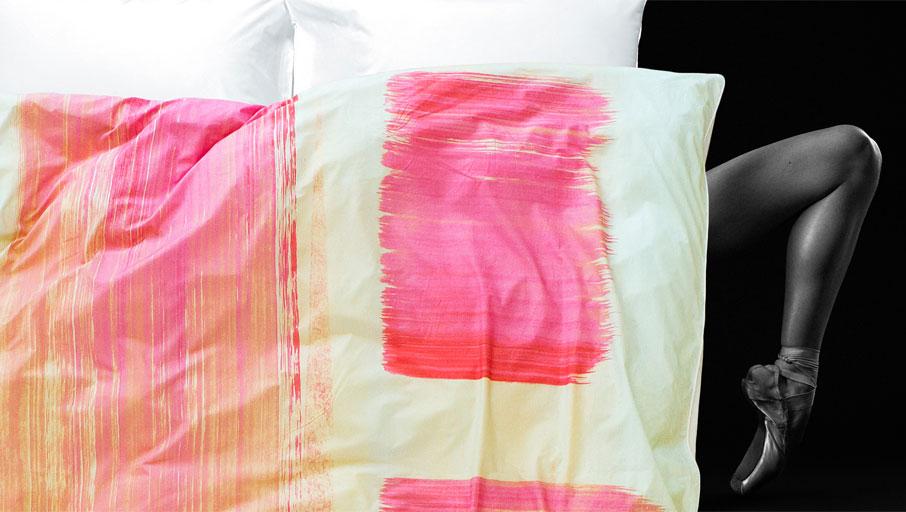 ZayZay Living art movement ballerina leg under duvet cover design So Jess featuring pink brushstrokes