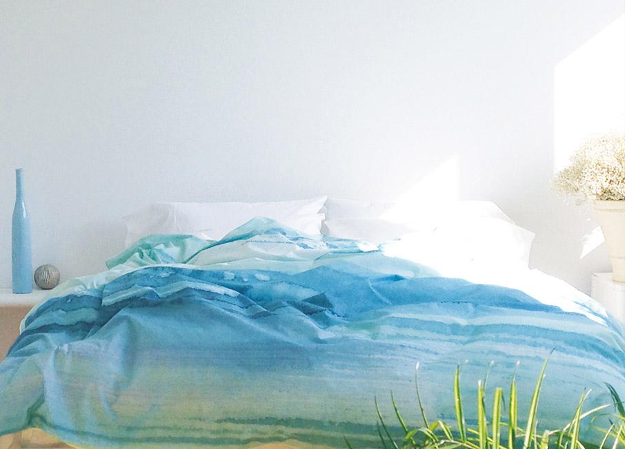 ZayZay Living Paradisus duvet cover aqua watercolour design in sunny bedroom summer sale