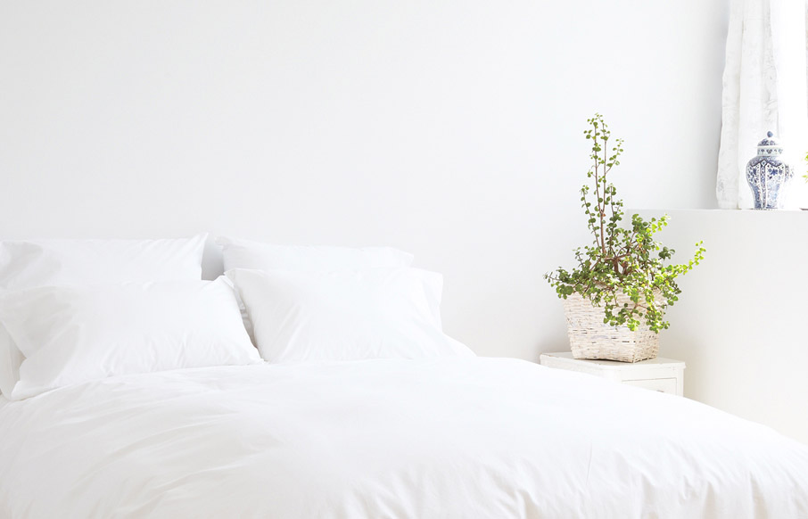 ZayZay Living luxury linen untouched snow duvet cover in bright bedroom