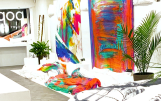 ZayZay popup shop interior artwork and duvet covers