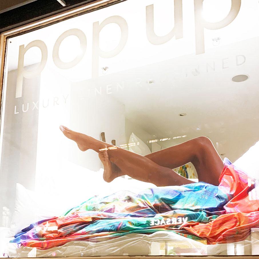 ZayZay popup shop window display with legs