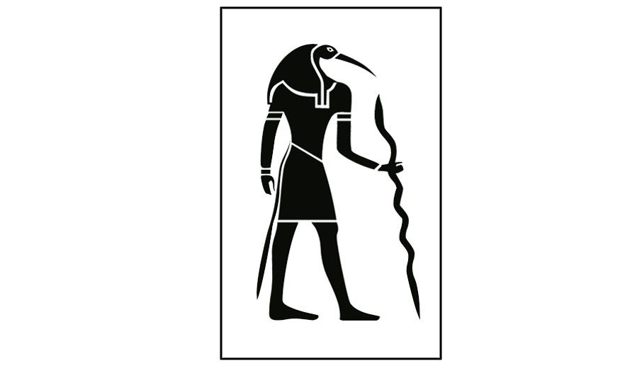 Egyptian god Thoth black and white illustration