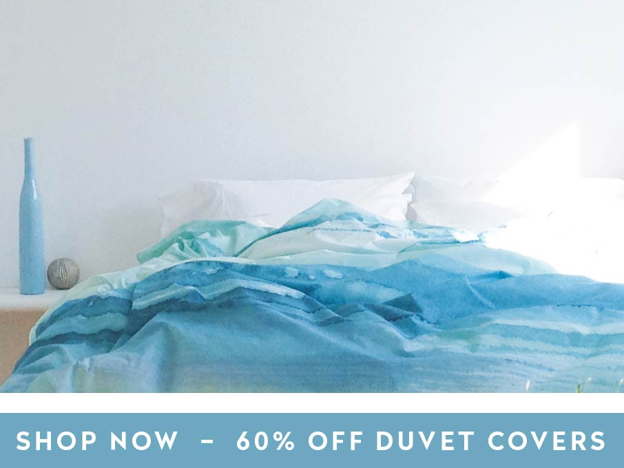 ZayZay Living duvet cover Paradisus like blue ocean on bed with shop now link